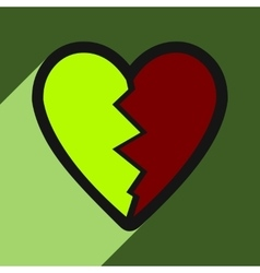 Flat with shadow icon heart broken pieces on vector