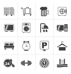 Black hotel and motel icons vector