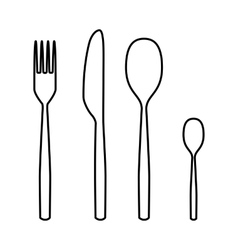 Fork spoon knife line icon vector