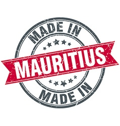Made in mauritius red round vintage stamp vector