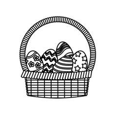 basket egg easter celebration ornament line vector image