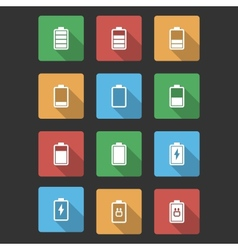 Battery Black Icons with Long Shadow vector image vector image