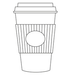 black and white tea coffee take away cup icon vector image vector image