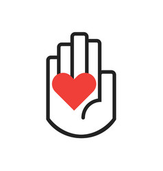 black line hand symbol holding red heart sign vector image