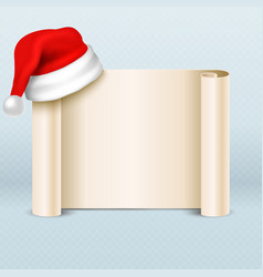 blank paper parchment scroll with santa claus red vector image vector image