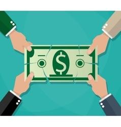 Businessman hands tearing dollar banknote vector image vector image