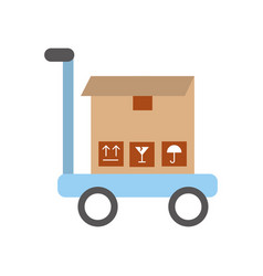 Cart with box carton delivery icon vector