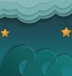 Cartoon of sea stars and clouds vector image