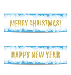 Christmas and new year 2017 banner golden text and vector