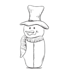 Christmas Snowman hand drawn winter vector image