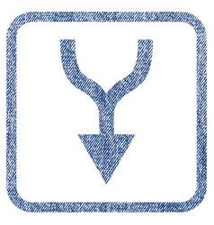 combine arrow down fabric textured icon vector image