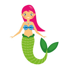 cute mermaid character in cartoon style vector image vector image