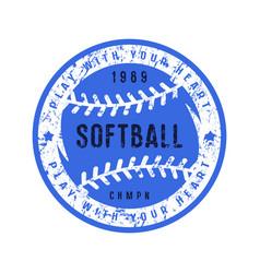 Emblem of softball championship vector