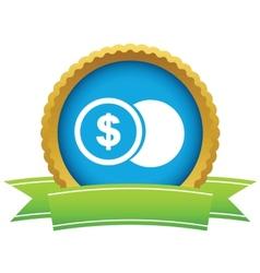 Gold dollar coin logo vector