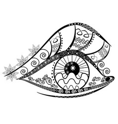Graphic abstracy eyes of black and white shapes vector