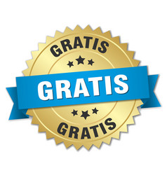 Gratis 3d gold badge with blue ribbon vector