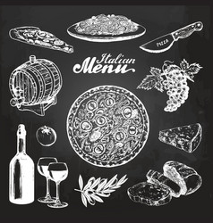 hand sketched italian menu mediterranean vector image