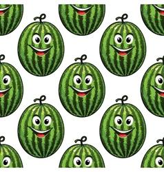 Happy green watermelon seamless pattern vector image