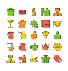 Icon set for restaurant in thin line style with vector