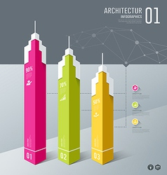 Infographics architectur building design origami vector