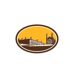 Kings college university of cambridge woodcut vector