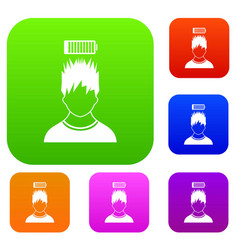 Man with low battery over head set collection vector