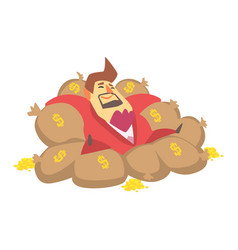 millionaire rich man laying on money bags filled vector image