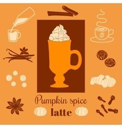 Pumpkin spice latte on orange background vector