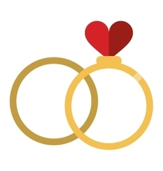 Romance two rings love heart wedding symbol vector