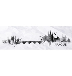 Silhouette ink Prague vector image vector image
