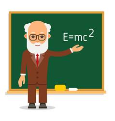 teacher elderly male teacher stand on lesson at vector image