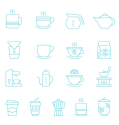 Thin lines icon set - coffee and tea vector
