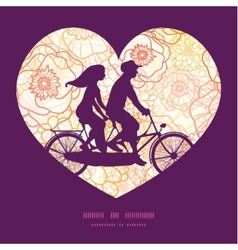 Warm flowers couple on tandem bicycle heart vector
