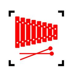 Xylophone sign red icon inside black vector