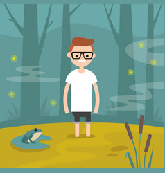 Young character stuck in the swamp flat editable vector
