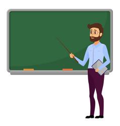 Young teacher standing in front of blank school vector