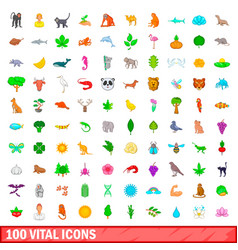 100 vital icons set cartoon style vector