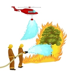 Firefighters in protective clothing and helmet vector