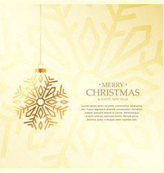 stylish golden christmas ball made with snowflake vector image
