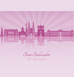 San salvador skyline in purple radiant orchid vector