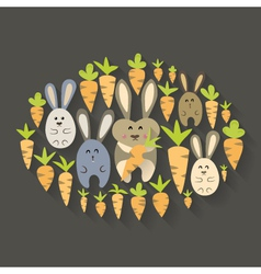 Easter rabbits and carrots icon set vector