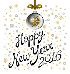 2016 happy New Year grey Baubles and snowflakes vector image