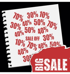 Big sale text over paper notebook discount red vector