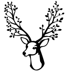 Deer head with tree branch horn vector