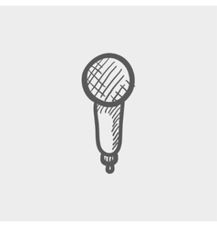 New microphone sketch icon vector