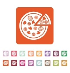 The pizza icon pizzeria and baking fast food vector