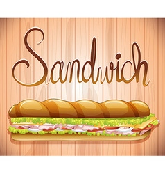 Foot long sandwich with ham and veggies vector