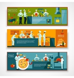 Cooking people banner set vector