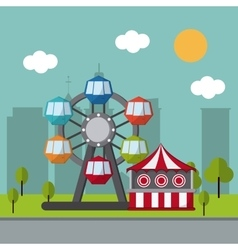 Circus wheel and tent design vector