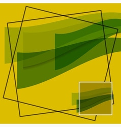 Abstract - green waves on a yellow background vector